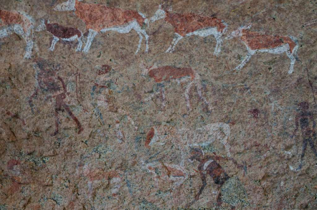 See ancient Bushmen rock paintings